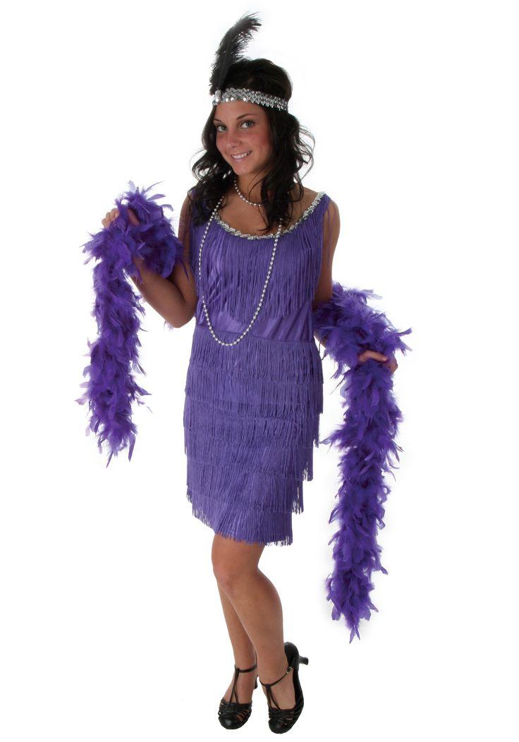 Plus Size Purple Fringe Flapper Dress