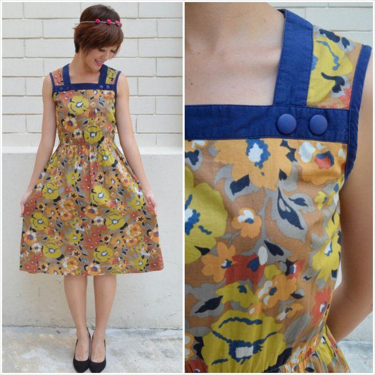 1960 Vintage Dress/ Mustard Bloom Dress/ Small Dress/ Floral Dress/ Sunday Dress/ Strappy Dress/ Pinafore Day Dress/ Summer Cotton Dress by HEIRESSxVintage on Etsy