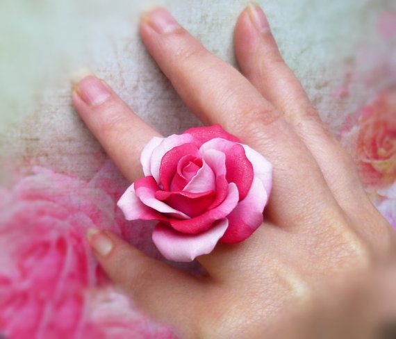 Pink ring Large pink ring Magenta ring Flower ring Rose ring Pink jewelry Jewelry rose Large ring Cute ring Polymer clay 925 sterling silver