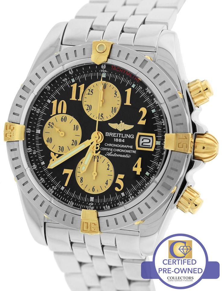 MINT Breitling Chronomat Evolution Chronograph Two-Tone B13356 44mm Black Watch