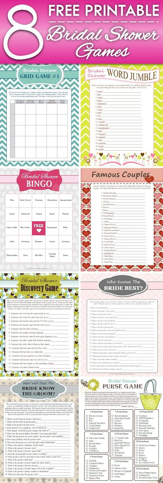 8 FREE Printable Bridal Shower Games - download some fun today!: