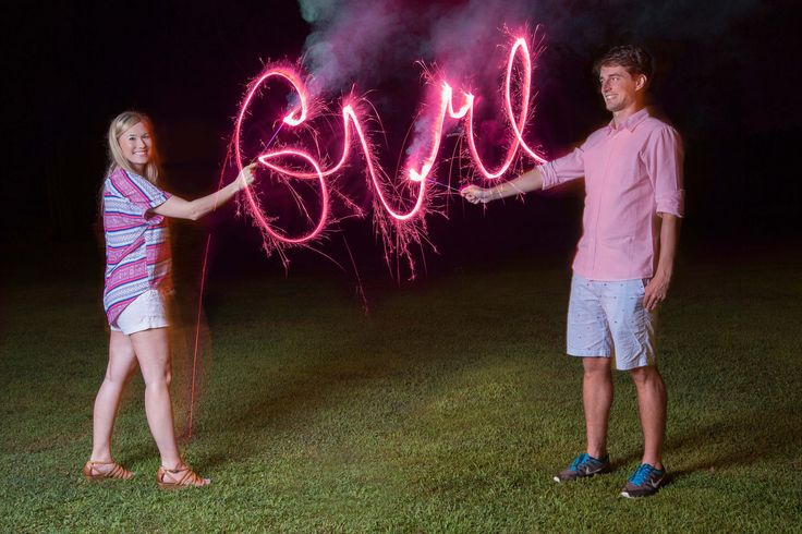 Our Gender Reveal photo with GIRL spelled out in sparklers announcing our baby girl due in November!  #genderreveal #genderrevealphoto #genderrevealideas #genderrevealannouncement