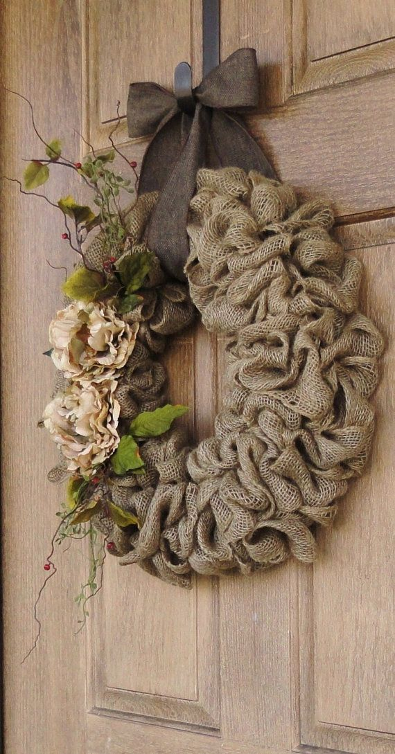 Burlap wreath with beige peony flowers burlap wreath with for Burlap wreath with lights