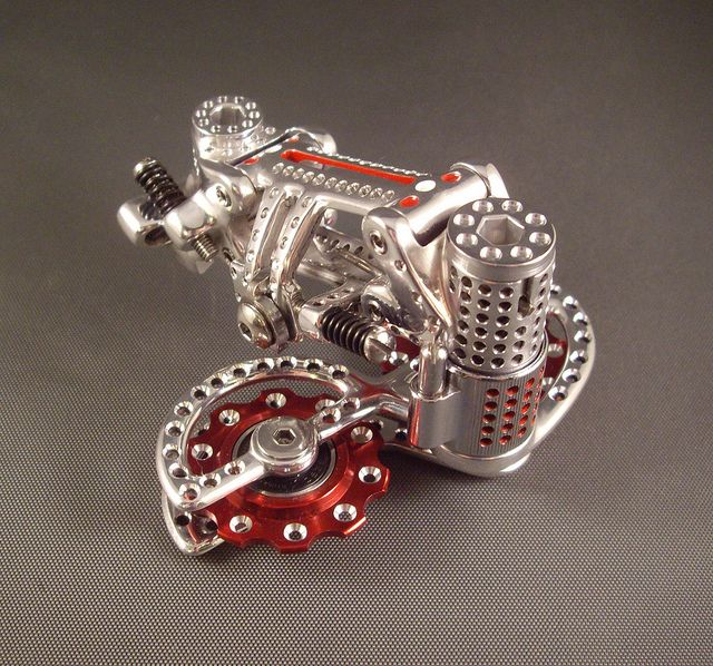 lacletaoficial:  justcyclingshit:  thebicycleworks:  DRILLIUM Nuovo Record Derailleur  nothing is lighter than a hole  OMG y yo creía que l...