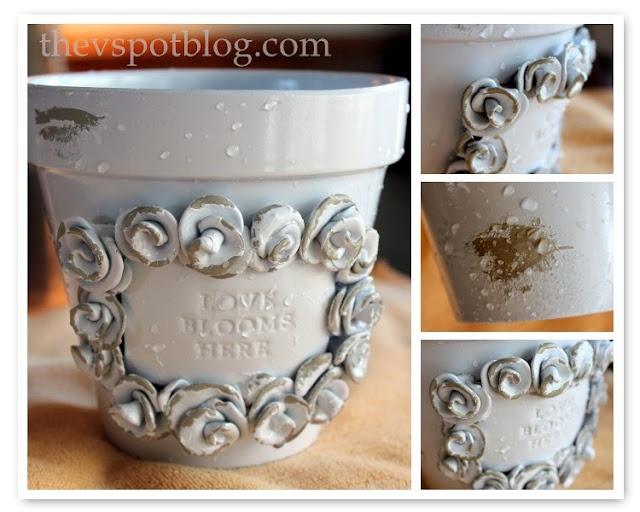 DIY shabby chic flower pots. So cute.