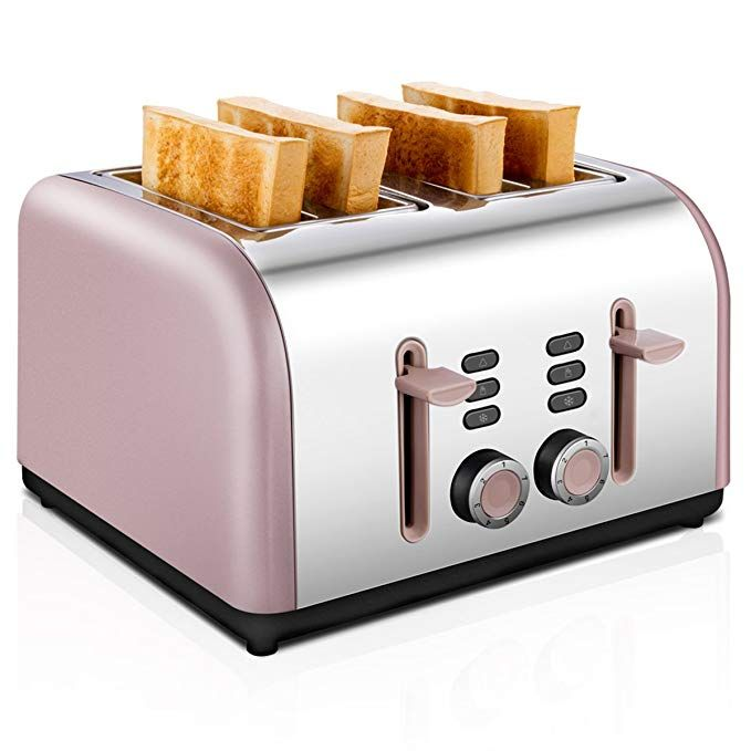 4 Slice Toaster Bread Electric Four Wide Slots Bagel Burger Buns Kitchen