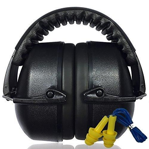 3 Sixty Safety Ear Muffs  Free Ear Plug Kit Best Hearing Protection for Firearm Shooting Construction Noise Reduction / Cancelling with Easy Storage - All Day Comfort for All Your Ear Defense Needs