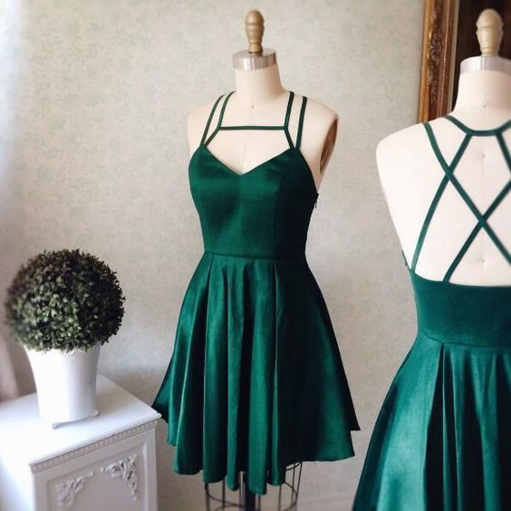 Emerald Homecoming Dress,Short Party Dress,Green Straps Formal Dress,V neck