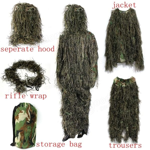 Woodland Camo Camouflage clothing 3D Tree Hunting Adults Ghillie Suit Sale - Banggood.com