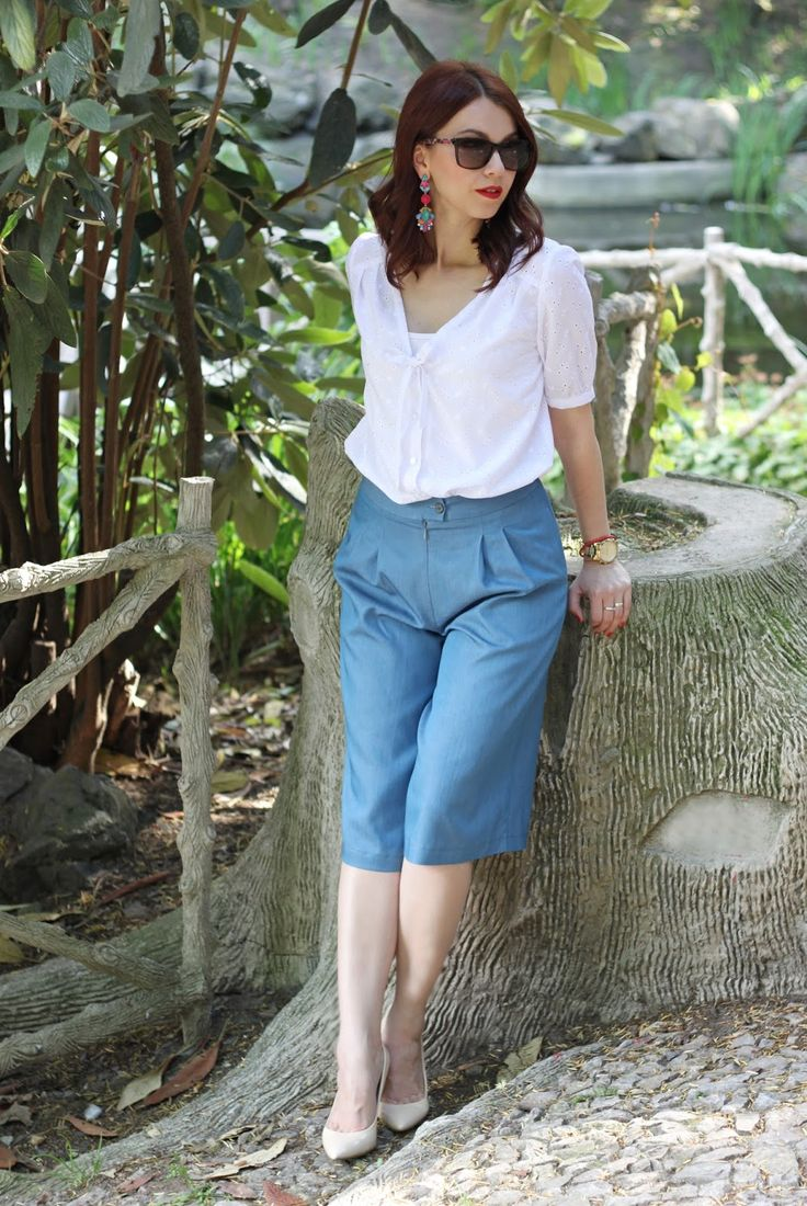Culottes, denim culottes, denim trousers, beige pumps, white shirt, summer look