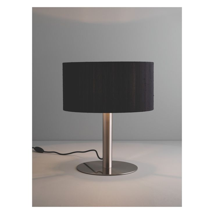 HIRST Brushed metal table lamp with black fabric shade