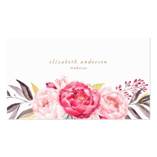 Pink Peonies Flowers Watercolor Business Card #zazzle, #phrosnerasdesign #floral #businesscards #callingcards #contactcards