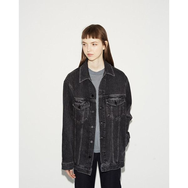 ALEXANDER WANG Daze Denim Jacket ($455) ❤ liked on Polyvore featuring outerwear, jackets, grey aged, heavy denim jacket, denim jacket, gray denim jacket, alexander wang and grey denim jacket