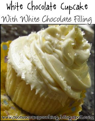 MOMS CRAZY COOKING: White Chocolate Cupcake with White Chocolate Filling {TWC Linky
