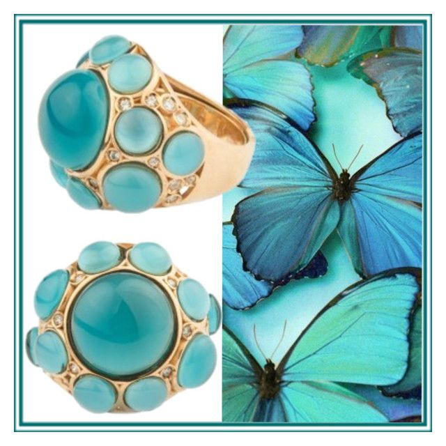 turquoise + gold ring by shabalina-katerina on Polyvore featuring polyvore beauty
