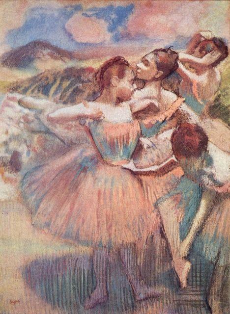 Tänzerinnen in einer Landschaft, 1897. Pastell, 89 x 65 cm.  Sammlung E. G. Bührle, Zürich.