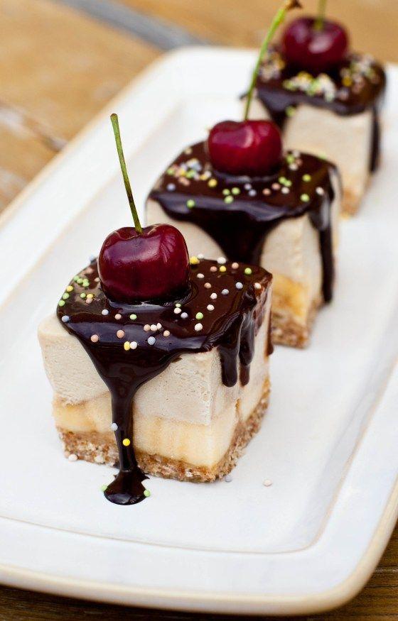 Banana Split Ice Cream Cake - love how they are individual servings/bars