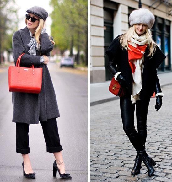 Красная сумочка с серым пальто