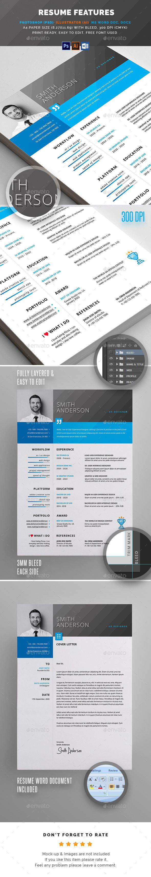 Resume FEATURES:      Easy customizable and editable     300 DPI CMYK Print Ready!     A4 size 216×303 mm with Bleed     100% Layered and Full Editable     02 PSD Files included     02 Ai Files included     04 Word Files (DOC & DOCX) included     Help Guide Included     Print Ready Format     Images are not included in the download.