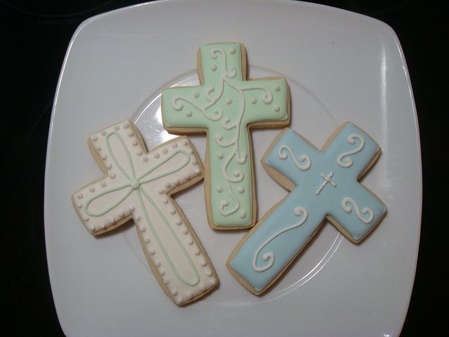 1st communion cookies - I think I like the design on the green one best