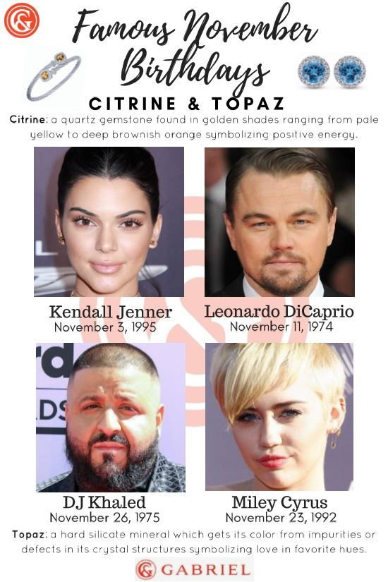 Famous November Birthdays! Including Kendall Jenner, Leo DiCaprio, Miley Cyrus and DJ Khalid! Find out more about the gems of positive energy and comfort!