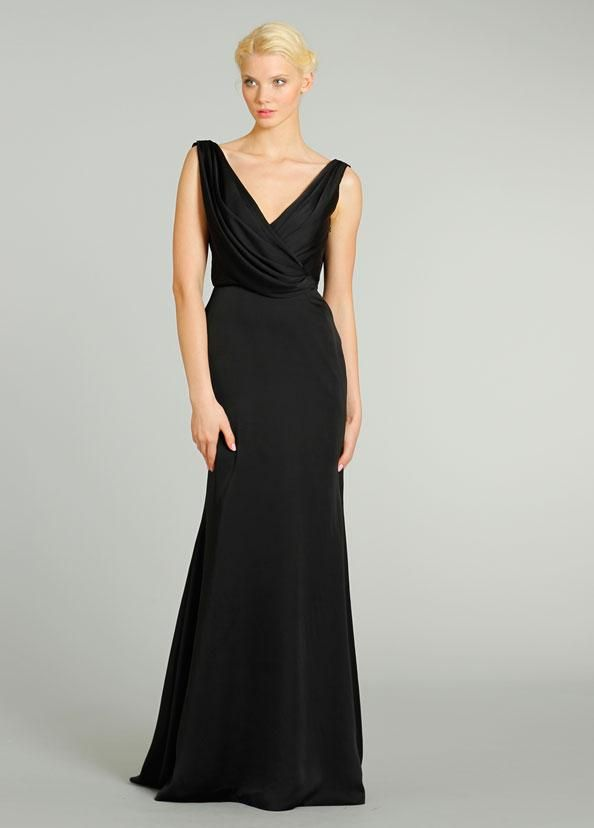 Bridesmaid Charmeuse Front Back Draped V Neck Cowl Gown Modified A Line Skirt Sweep Train Black Evening Party Dress 2015 New Bridesmaid Dresses Dress From Puredress, $58.38| Dhgate.Com