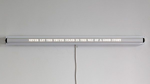 """Kelly Mark, """"Never Let the Truth Stand in the Way of a Good Story"""", 2011, rewired fluorescent light fixture, waterjet cut pipe w/powder coating"""