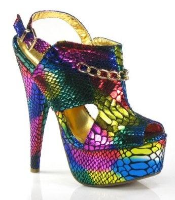Metallic Rainbow Platform Slingback Stiletto Sandal: Platform Slingback, Rainbows Shoes, Hot Shoes, High Heels Boots, Metals Rainbows, Metals Platform, Rainbows Platform, Stilettos Sandals, Slingback Stilettos