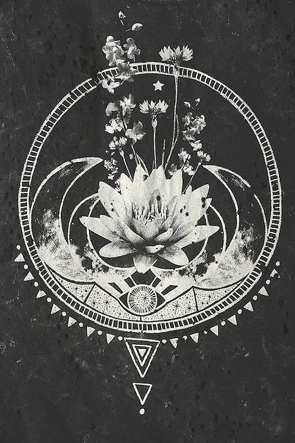 Illustration art boho b&w Grunge patterns eye stars flowers bohemian gypsy Lotus Flower crescent moon