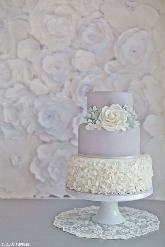 Dove Grey Wedding Cake with beautiful textured backdrop | by Sugar Ruffles