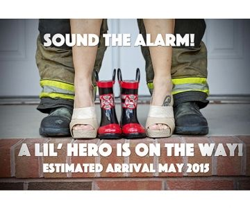 """""""My husband and I are expecting our first child this coming May! My husband is a firefighter, so what better way to share the news with our family and friends, than announcing our lil' hero on the way. We are more than excited!"""""""