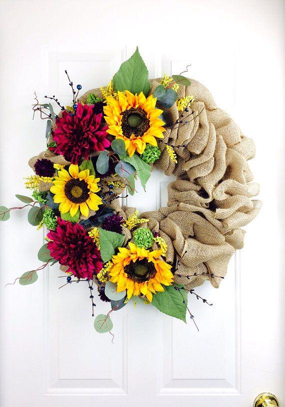 Sunflower Burlap Wreath Late Summer Wreath Floral Burlap