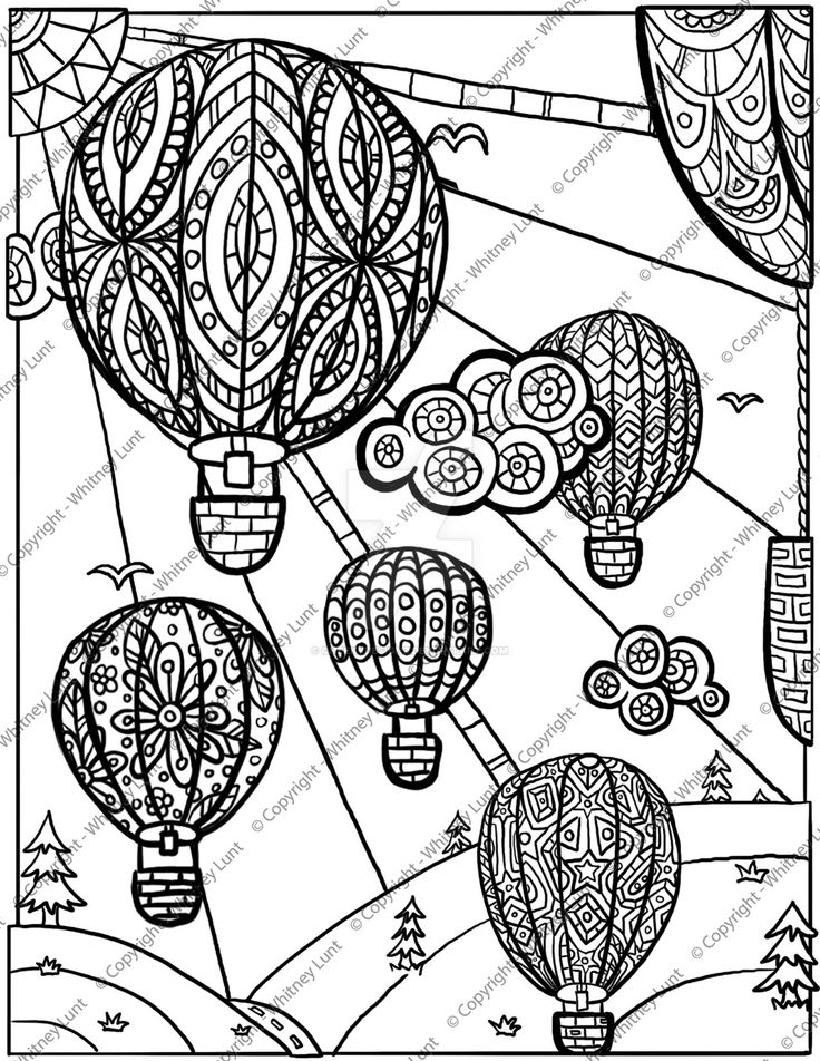 De 60 bsta Hot Air Balloon Coloring Pages for Adultbilderna p