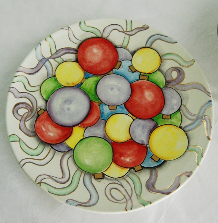 paint your own bauble design on a pottery plate