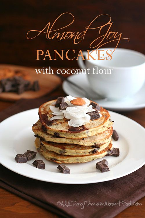 Almond Joy Pancakes - Low Carb and Gluten-Free: Low Carb, Joy Pancakes, Almond Joy, Almonds Joy, Pancakes Recipes, Gluten Free, Pancakes Gluten, Glutenfree, Coconut Flour