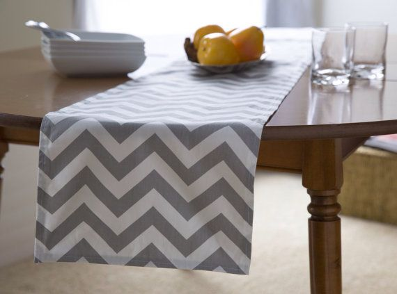 "Grey Table Runner- Gray Chevron Table Runner.Grey Chevron Table Runner.  48"", 60"",72"",84"",96"" Runner or 12 x 18""Placemat."