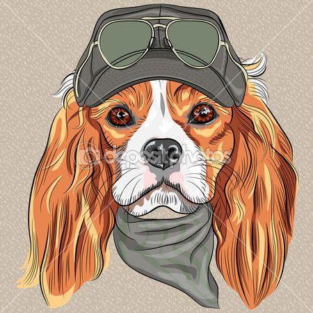 Вектор мило битник собак породы Кавалер Кинг Чарльз спаниель — стоковая иллюстрация #39146335