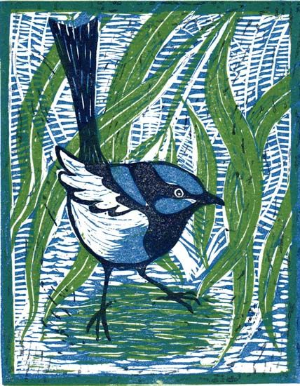 Wren- linocut Mary Hick © even though this is a Lino cut print - I put it in here for a reason - I want to try that look with acrylic paint or markers.