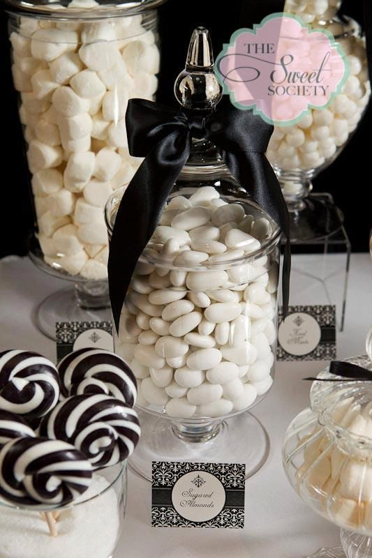 Black and White Candy Bar-- marshmallows, white chocolate covered nuts, black licorice(yuck), dark chocolate