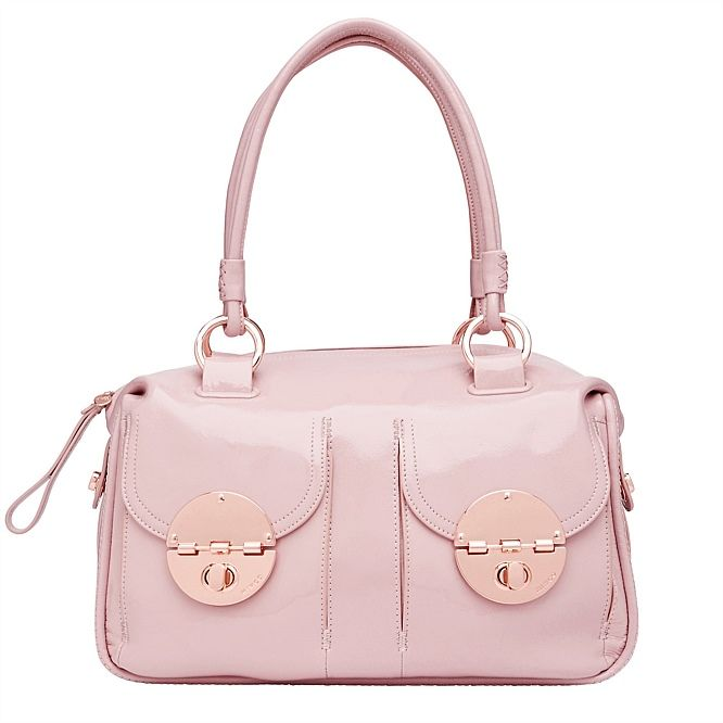 mimco turnlock handbag rose gold and blush