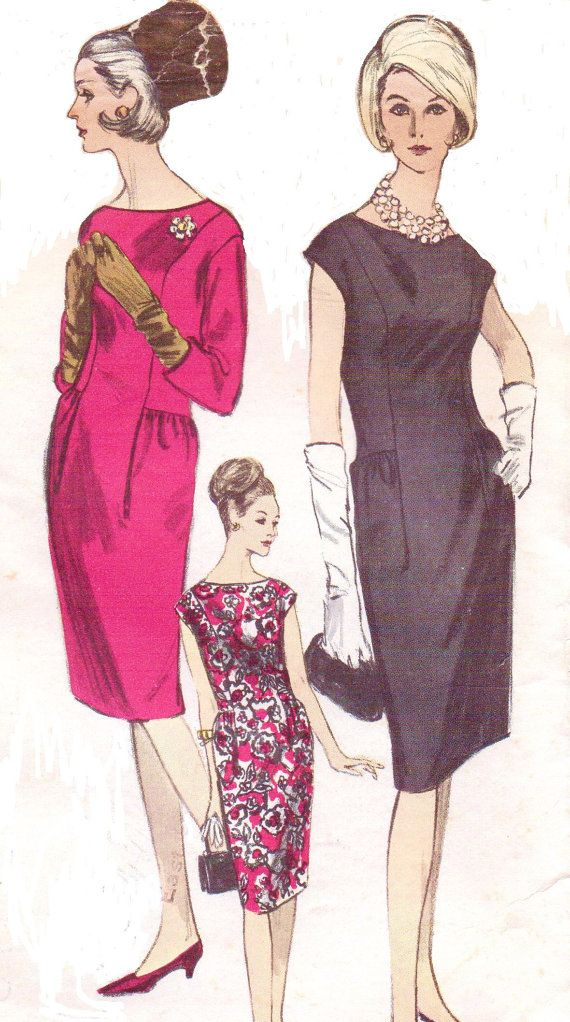 Vintage 1960s Vogue Sewing Pattern 6079 Womens Day or Cocktail Dresss with Low Side Gathers Princess Seams Size 16 Bust 36