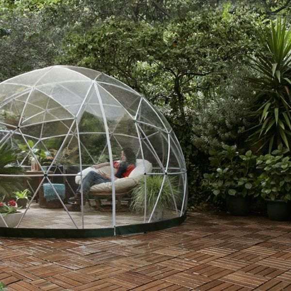 Garden Igloo 360 - Multipurpose Dome Outdoor Room - With Free UK and European Delivery Stylish conservatory, play area for children, greenhouse or gazebo.  Garden Igloo is all these things. Convertible, robust and mobile.  Garden Igloo is both weatherproof and rust resistant, 100% recyclable, can be used all year round and is set up without tools in two hours.