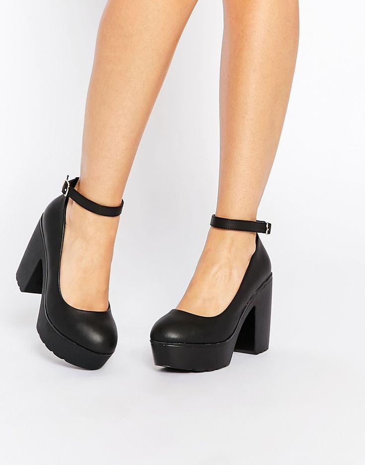 Daisy Street Black Darcy Chunky Shoes