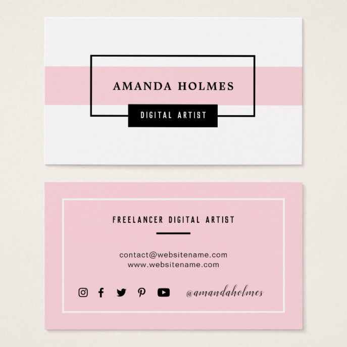 Minimalist Black White Pink Business Card Zazzle Com Pink Business Card Fashion Business Cards White Business Card