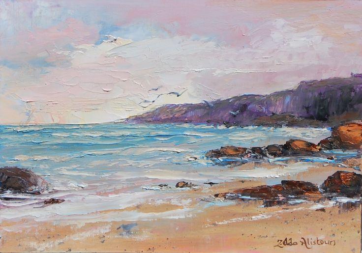 Coastline 35.5 x 25 cm Oil on board by Zelda Alistoun Paintings