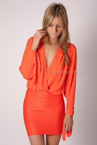 farrah cocktail dress - orange