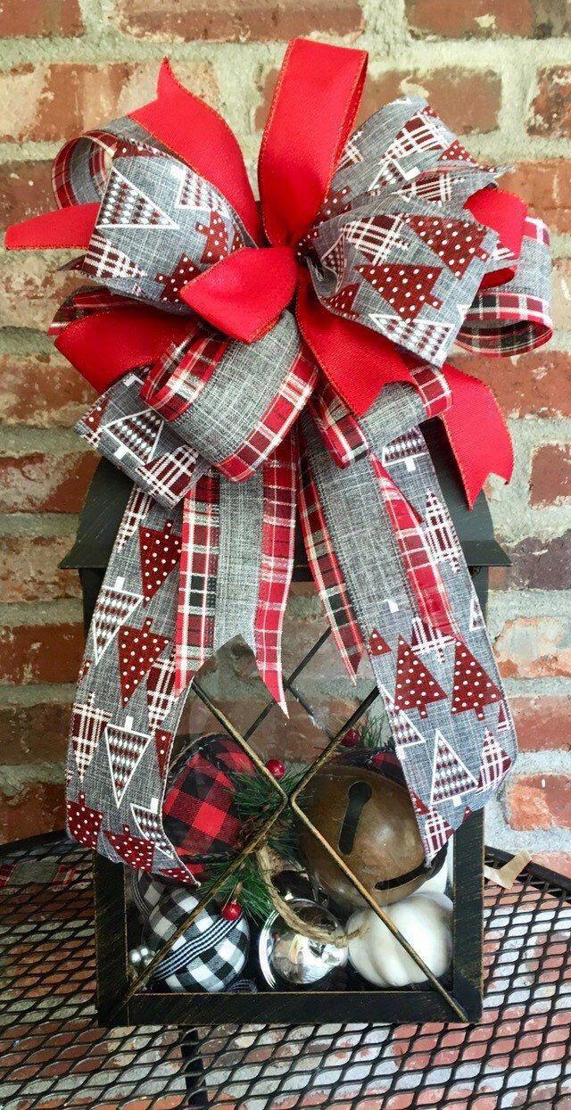Christmas Ribbon 2020 Christmas wreath bow Christmas lantern bow Farmhouse   Etsy in