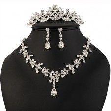 SET bijuterii mireasa colier cercei si tiara placate cu Argint 925 si cristale