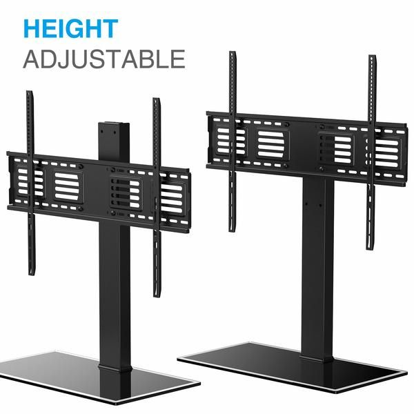 Universal Tv Stand Pedestal Base Wall Mount With Swivel And Height Adjustment For 50