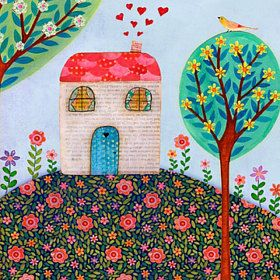 Art Mixed Media Collage Paintings and Prints Handmade Jewelry Boxes and Necklace Pendants Trees, Flowers, Fairies and Mermaid Art Prints and Original